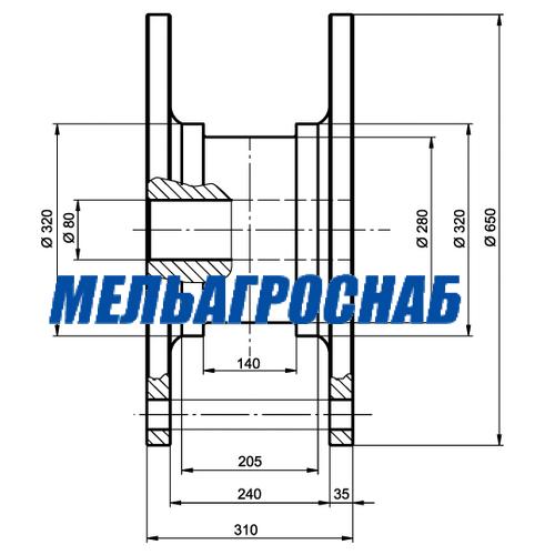 ОБОРУДОВАНИЕ ДЛЯ САХАРНОЙ ПРОМЫШЛЕННОСТИ- Муфта промежуточного подшипника (катушка) дифузионного аппарата ДС-12